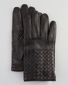 Bottega Veneta Men's Woven Leather Gloves, Black on shopstyle.com