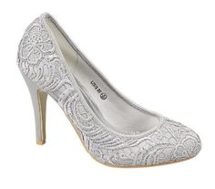 Ladies L2979 Silver Lace Court Shoe: Amazon.co.uk: Shoes & Accessories