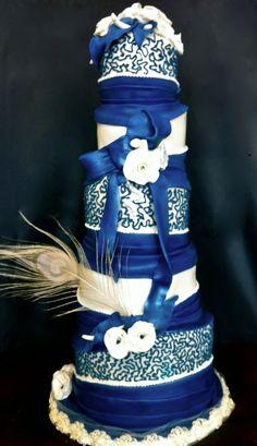 Ivory and Blue Topsy Turvy Wedding Cake