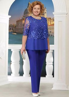 Bridesfamily Attractive Pant Suits Tulle & Chiffon Jewel Neckline Mother Of The Bride Dresses With Lace Appliques Mothers Dresses, Bride Dresses, Girls Dresses, Mom Dress, Lace Dress, Mother Of The Bride Trousers, Floral Vintage, Girl Dress Patterns, Pant Suits