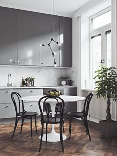 Home Interior Salas .Home Interior Salas Apartment Interior, Kitchen Interior, Interior Livingroom, Grey Kitchens, Dining Room Design, Dining Rooms, Dinning Table, Cuisines Design, Scandinavian Home