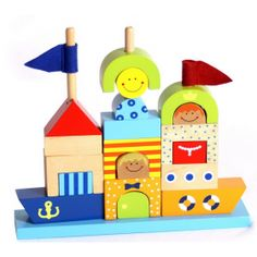 Brightly printed and clear varnished wooden building blocks in different shapes are mounted on 3 rods A lovely variation on a stacking and threading Wooden Building Blocks, Wooden Blocks, Different Shapes, Little Boys, Wooden Toys, Montessori, Bookends, Christmas Ornaments, Holiday Decor