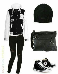 YES!! I would wear that its perfect it has my favorite things a hoodie jeans with rips in them a beanie and converse!! Cute Teen Outfits, Outfits For Teens, Clothing Shopping Sites, Deadpool, Amazing Women, Black Jeans, Women's Clothing, Jackets, Pants