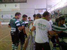 Time out para o Sporting. 6 minutos para o final da 1ª parte. Descansam German e Figueira. Entram Pimenta e Bernardino.   Resultado: SC Tomar 1 - 2 Sporting