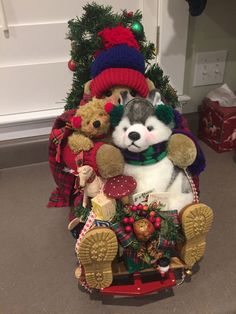 Apple Whimsey- Bear on sled- No Tags #AppleWhimsey #Christmas