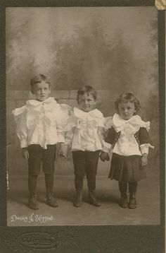 Beautiful Children With Big Bows. July 1900. Sterling, Illinois