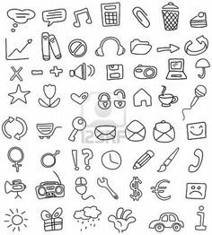 simple yet fun doodles taken from: http://www.123rf.com/photo_7211463_doodle-icon-set.html