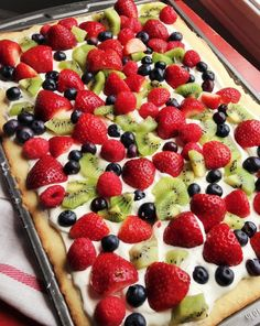"""I love to make fruit pizza during this time of year when the weather can get a little dreary. The bright colors of the fresh fruit seem to brighten menus as well as spirits. Fruit pizza seems to say, """"Spring is on it's way! Healthy Recipes, Fruit Recipes, Dessert Recipes, Cooking Recipes, Pizza Recipes, Potluck Desserts, Basil Recipes, 4th Of July Desserts, Potluck Ideas"""