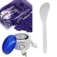 2017 Dropship 1set Lavender Flavor Hair Removal Hot Paraffin Wax Warmer Heater Pot Machine Depilatory Hard Wax Bean Set JU17 #Affiliate