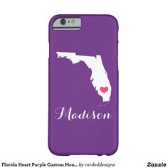 Florida Heart Purple Custom Monogram Barely There iPhone 6 Case