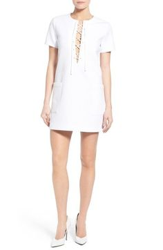 KENDALL + KYLIE 'Safari' Lace-Up Shift Minidress available at #Nordstrom