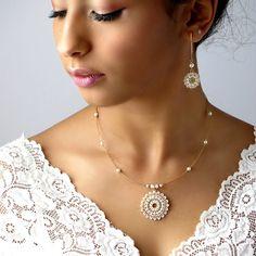 Bridal necklace and earring set, bridal wedding jewelry sets, mandala necklace & Long Pearl Earrings, pearl statement necklace, jewelry sets