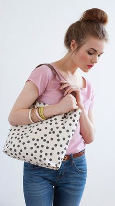 Charcoal Dot Tote Bag Hand Printed Canvas Leather