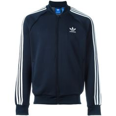 Adidas Originals 'Superstar' track jacket ($82) ❤ liked on Polyvore featuring men's fashion, men's clothing, men's activewear, men's activewear jackets and blue