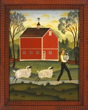 SHEEP & FARMER Primitive Folk Art Decor
