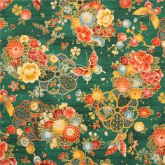 http://www.kawaiifabric.com/en/p11340-green-structured-cotton-satin-colorful-flower-butterfly-fabric-Cosmo.html