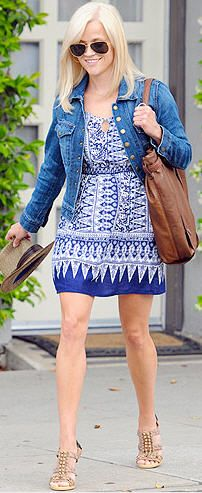 Print Dress and Denim Jacket