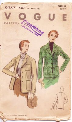 Vintage 1950s Vogue Womens Riding Jacket Pattern by CloesCloset, $30.00
