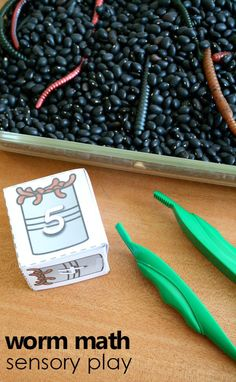 Go digging for worms as you practice counting with free printable number cubes and this preschool math sensory bin for your spring worm or gardening theme. Preschool Garden, Preschool Lesson Plans, Preschool Themes, Spring Preschool Theme, Preschool Camping Activities, April Preschool, Nursery Activities, Preschool Projects, Preschool Education