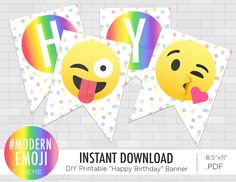 Emoji Happy Birthday Banner - Emoji Birthday Party - Emoticon Banner - Instagram Party - Rainbow Emoji Party - Instant Download by PrintAndPartyDesigns on Etsy https://www.etsy.com/listing/500458866/emoji-happy-birthday-banner-emoji