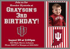 Indiana University IU Photo Birthday Invitation on Etsy, $15.00