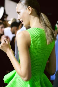 catwalk-central: alahaze: q'd (via TumbleOn) #neon #greendress