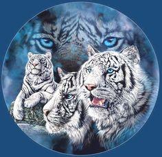 White Snow Tigers Cross Stitch PatternLK I SEND por JAYLM2006