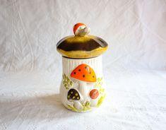 Ceramic Mushroom Jar, Vintage 1970s Kitchen Decor, Storage / Stash Jar