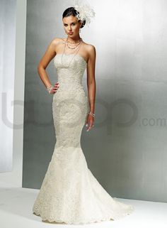 Lace And Satin Strapless Neckline Fit and Flare Mermaid Wedding Dress