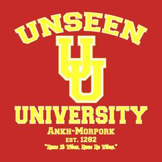 'Unseen University'  New Discworld inspired tee shirts and hoodies available in store.  #Discworld, #terrypratchett,