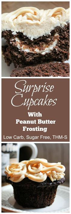 Surprise Cupcakes with Peanut Butter Frosting {THM-S, Low Carb, Sugar Free} - My Montana Kitchen