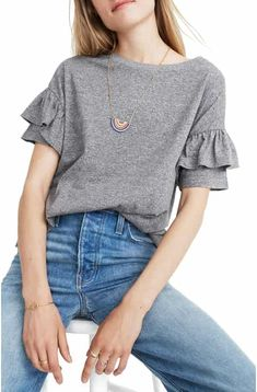 Ruffle Sleeve T-Shirt (Regular & Plus Size) by Madewell on Dress Outfits, Casual Outfits, Cute Outfits, Fashion Outfits, Ruffle Shirt, Ruffle Sleeve, Blouse Styles, Blouse Designs, Traje Casual