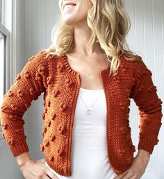 Bought buttons, lost them, took a photo anyway because I L O V E this cardigan. The bobble clusters remind me of Golden Wattle buds so I'm… Moda Crochet, Crochet Baby, Free Crochet, Knit Crochet, Crochet Buttons, Crochet Cardigan Pattern, Crochet Jacket, Crochet Patterns, Bikinis Crochet