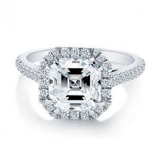 Asscher Cut Diamond Engagement Ring with Sidestones