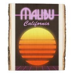#Malibu California sunset travel poster Wood Panel - #travel #trip #journey #tour #voyage #vacationtrip #vaction #traveling #travelling #gifts #giftideas #idea