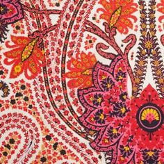 From a famous NYC designer known for his prints. This cotton paisley print of fuschia, red, gold ivory and black is just so fresh and lovely. Sew this lightweight fabric into blouses, tunics, dresses and beach coverups.