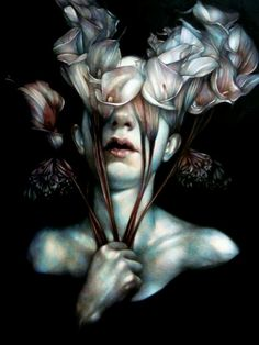 Marco Mazzoni - Painting - The detail in the body is surrounded by the beauty of the flowers in darkness. The intensity of the piece is something i would be interested in exploring.