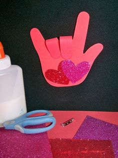 Preschool Crafts for Kids*: Mothers Day/ Valentines Day I Love You Hand Print Craft by mavis