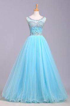Baby blue organza round neck sequins A-line long prom dresses, cute graduation dresses