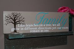 Family wooden sign with tree and quote unique by LilyBug428, $20.00