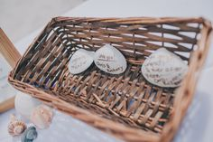 A creative way for your #weddingguests to leave you a message at your #beachwedding! #seashells