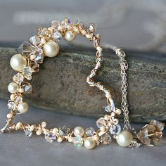 Pearl and Crystal Sterling and Gold Wire Wrapped Heart Lariat - MADE TO ORDER / Lovely Clusters - Beautiful Handmade   Vintage