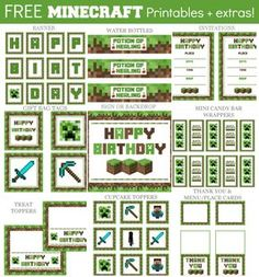 Click here to get FREE Minecraft party printables! Perfect for any Minecraft themed birthday party!