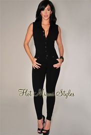 Black Button Front Jumpsuit