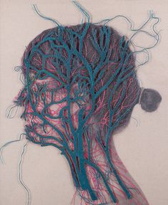 New Stunning Embroidered Anatomical Illustrations by Juana Gómez Chilean artist Juana Gómezs (previously featured here) latest project titled Serie Constructal explores the symbiotic relationship between nature and the human body. Sprouting like roots our Arte Com Grey's Anatomy, Anatomy Art, Human Anatomy, Biology Art, Reflection Art, Human Body Art, Medical Art, Colossal Art, Textiles
