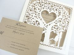 Must see Laser Cut Wedding Invitations. Offering many different Laser Cut designs to choose from! Visit us today to get started on your custom laser cut wedding invites. Western Wedding Invitations, Inexpensive Wedding Invitations, Wedding Invitation Envelopes, Inexpensive Wedding Venues, Laser Cut Wedding Invitations, Owl Wedding, Wedding Pins, Rustic Wedding, Autumn Wedding