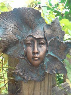 Garden art wall sculpture female face leaf by GableGargoyles, $30.00