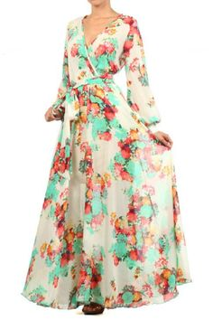 WEEKEND SALE...NEW LOWER PRICES!!! New IVORY Vintage FLORAL FULL SWEEP Chiffon MAXI DRESS Long GARDEN Tea PARTY #tamarstreasures #Maxi #Formal