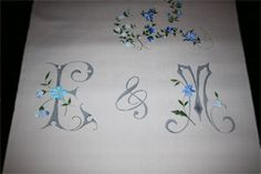Hand painted wedding aisle runner with monogram and blue flowers