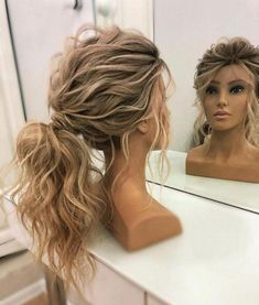 50 Romantic Bridal Updos Ideas You Need to Try 9 50 Romantic Bridal Updos Ideas . - 50 Romantic Bridal Updos Ideas You Need to Try 9 50 Romantic Bridal Updos Ideas … 50 Romantic B - Wedding Hair And Makeup, Hair Makeup, Hair Wedding, Wedding Pony Tail, Wedding Guest Updo, Prom Makeup, Hair Ideas For Wedding Guest, Simple Wedding Hair, Curly Hair Updo Wedding